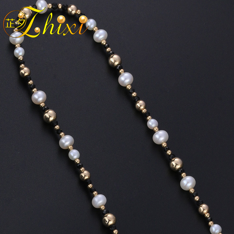 LZHIXI Long Pearl Necklace 9K Yellow Gold Fine Jewelry Natural Pearl Sweater Chain Near Round Luxurious Anniversary Gift EB34 2018 new yancey original design fine pearl long tassel star luxurious drop earrings 9k gold inlay the style of the goddess