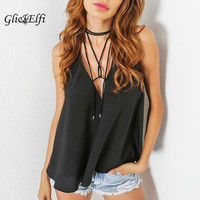 Crop Tops Women 2017 Bralette Halter Chiffon Black Cropped Feminino V Neck Sleeveless Top Evening Party