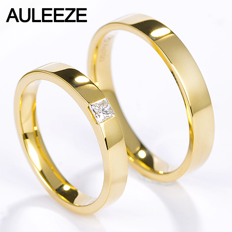 AULEEZE Princess Cut Real Diamond Wedding Band Simple Smooth Solid 18K Yellow Gold Couple Rings For Lovers Bridal Jewellery yoursfs 18k white gold plated austria crystal soliraire anniverary rings with princess cut