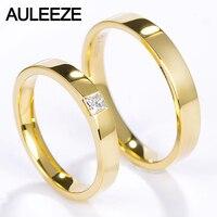 Auleeze Принцесса Cut настоящий бриллиант обручальное простой Гладкой Твердой 18 К желтого золота пара Кольца для любителей Свадебные украшения