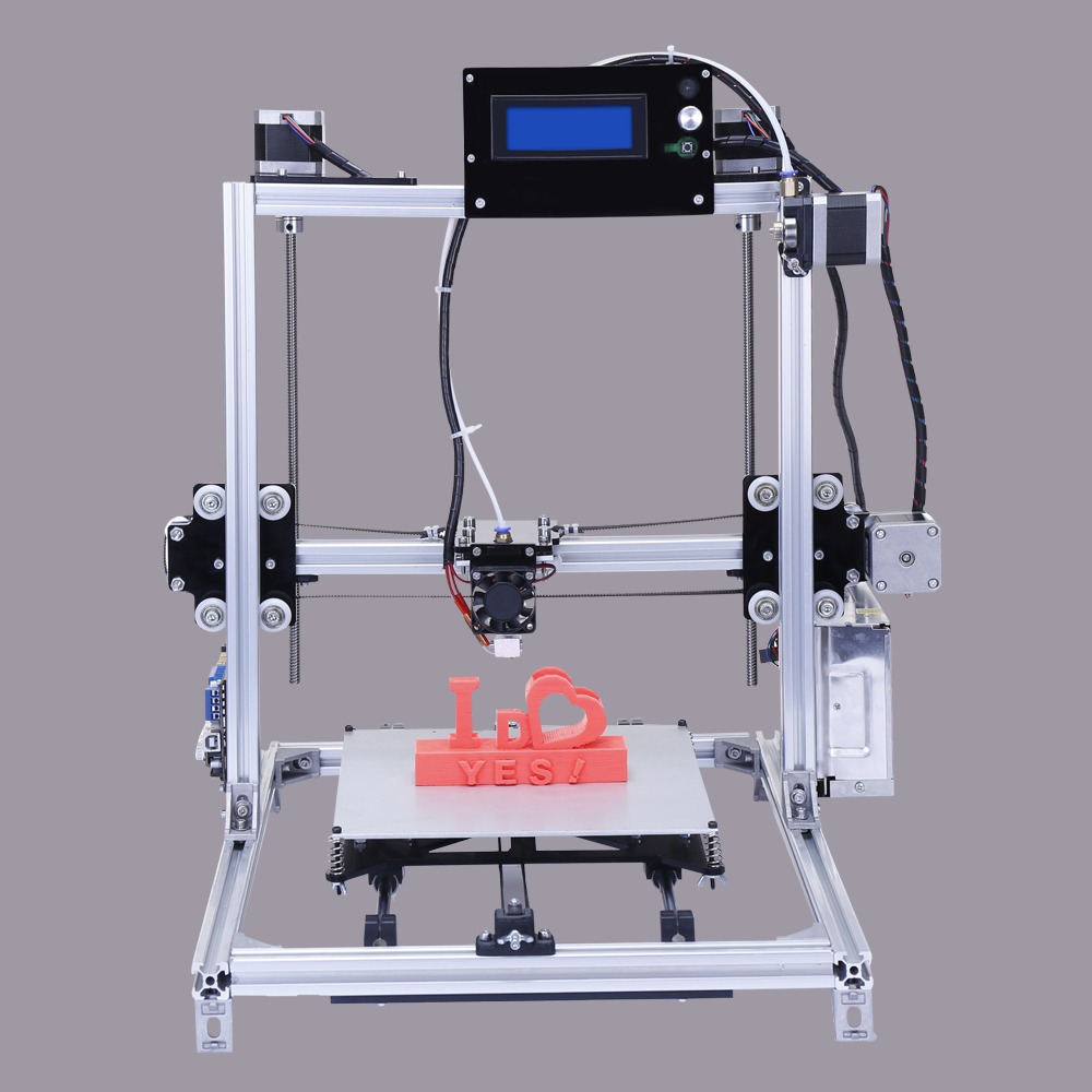 LCD Display 3D Printing MachineMetal Frame I3 3d Printer Kit With Heated Bed Options Two Roll