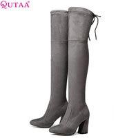 QUTAA 2018 Women Over The Knee High Boots Short Plush Inside Keep Warm Winter Fashion Sexy