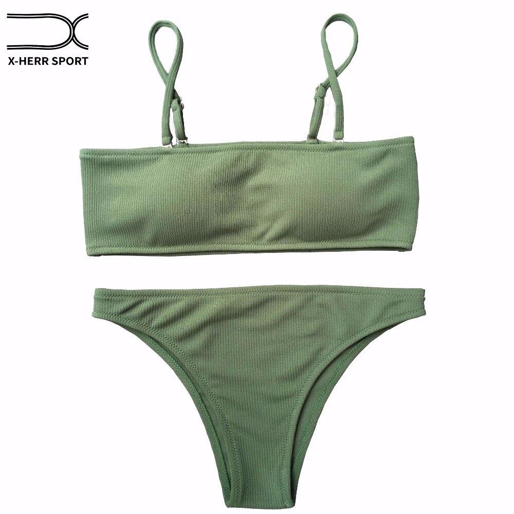 Badeanzug 2018 Bikini Bademode Frauen Push Up Solide Bandeau Bikini Set Bademode Badeanzug Body frauen Schwimmen Anzug