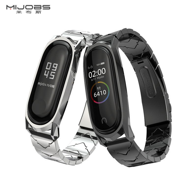 Mijobs Mi Band 4 Screwless Stainless Steel Metal Bracelet For Xiaomi Mi Band 4/3 Strap MiBand 3 Wrist Band Smart Strap