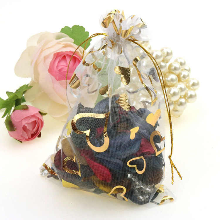 Ferimo 100 ชิ้นของขวัญโกลเด้นโรส Eugen เส้นด้ายมุกถุงขนมแต่งงานเครื่องประดับของขวัญ 7*9 เซนติเมตร