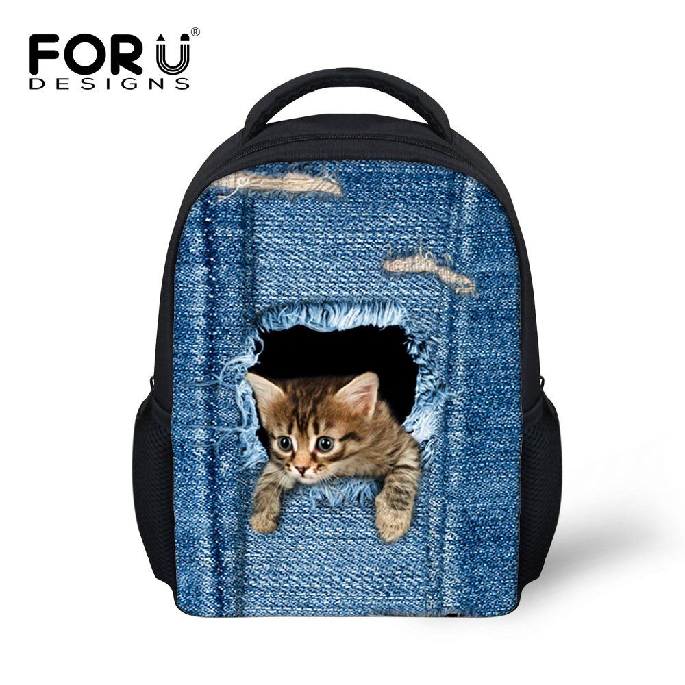 Jeans Cute Cat Printing Small Children School Backpacks Bags, Schoolbags For Kids Girls&Boys Cartoon Mochila Escolar Infantil
