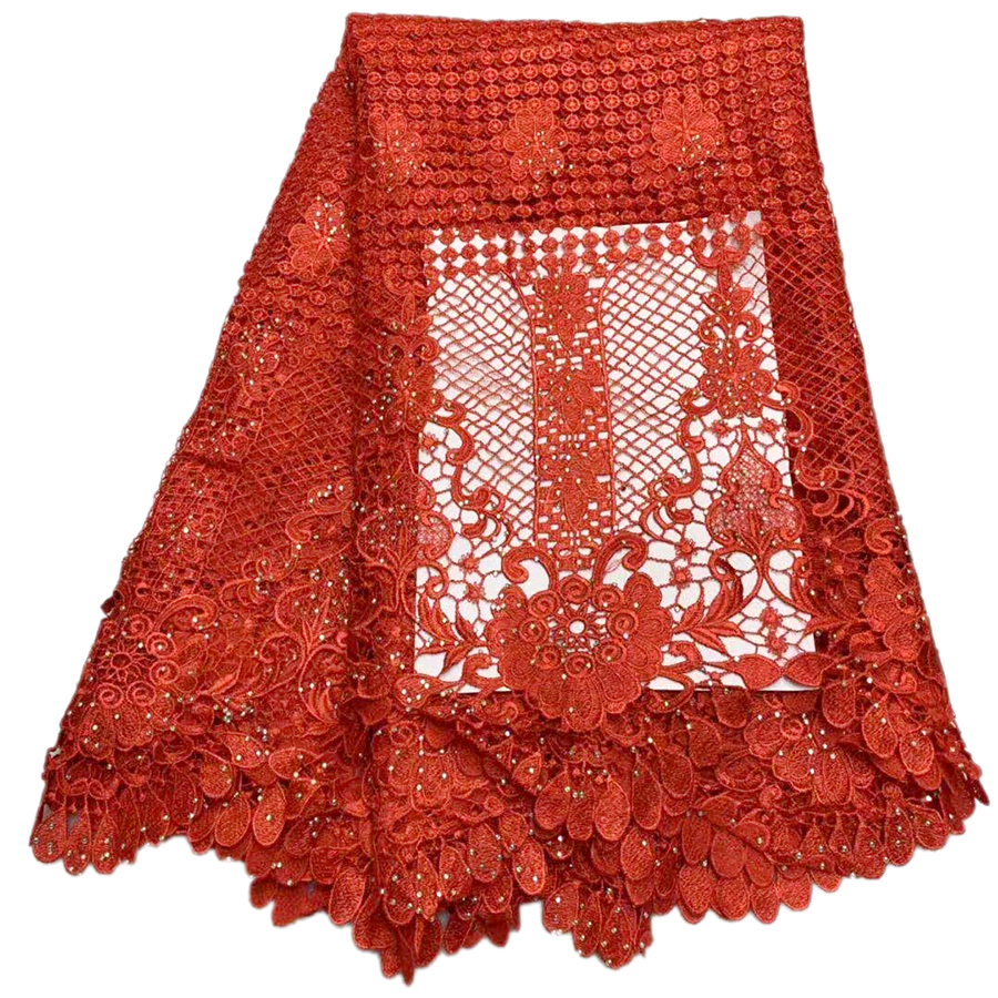 African Lace Fabric sale,High Quality african cord lace latest 2018 guipure lace fabric 5Yards.RED Color Nigerian Lace Fabric