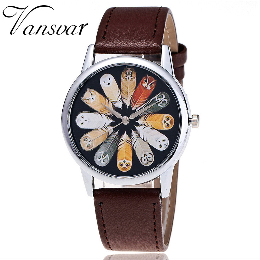 Vansvar Brand Fashion Leather Feather Wrist Watch Casual Vintage Ladies Women Quarzt Watches Relogio Feminino Drop Shipping 2073 new geneva ladies fashion watches women dress crystal watch quarzt relojes mujer pu leather casual watch relogio feminino gift
