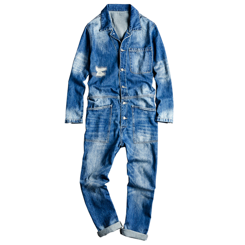 Sokotoo Men's long sleeve patchwork ripped denim   jean   jumpsuits Loose hip hop coveralls Youth overalls