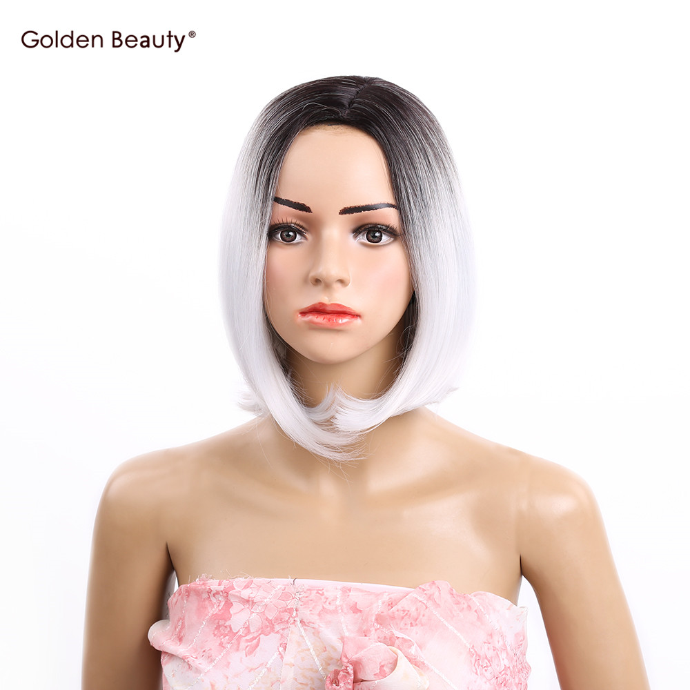 12inch Frican American Middle Part Bob Wigs Short Shoulder Length Ombre Grey Straight Synthetic Wigs For Women Golden Beauty