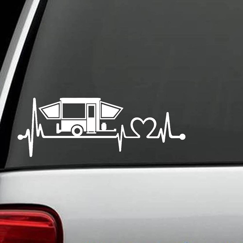 Pop Up Camper Travel Trailer Hiker Heartbeat Decal Sticker Tent Hiking ...
