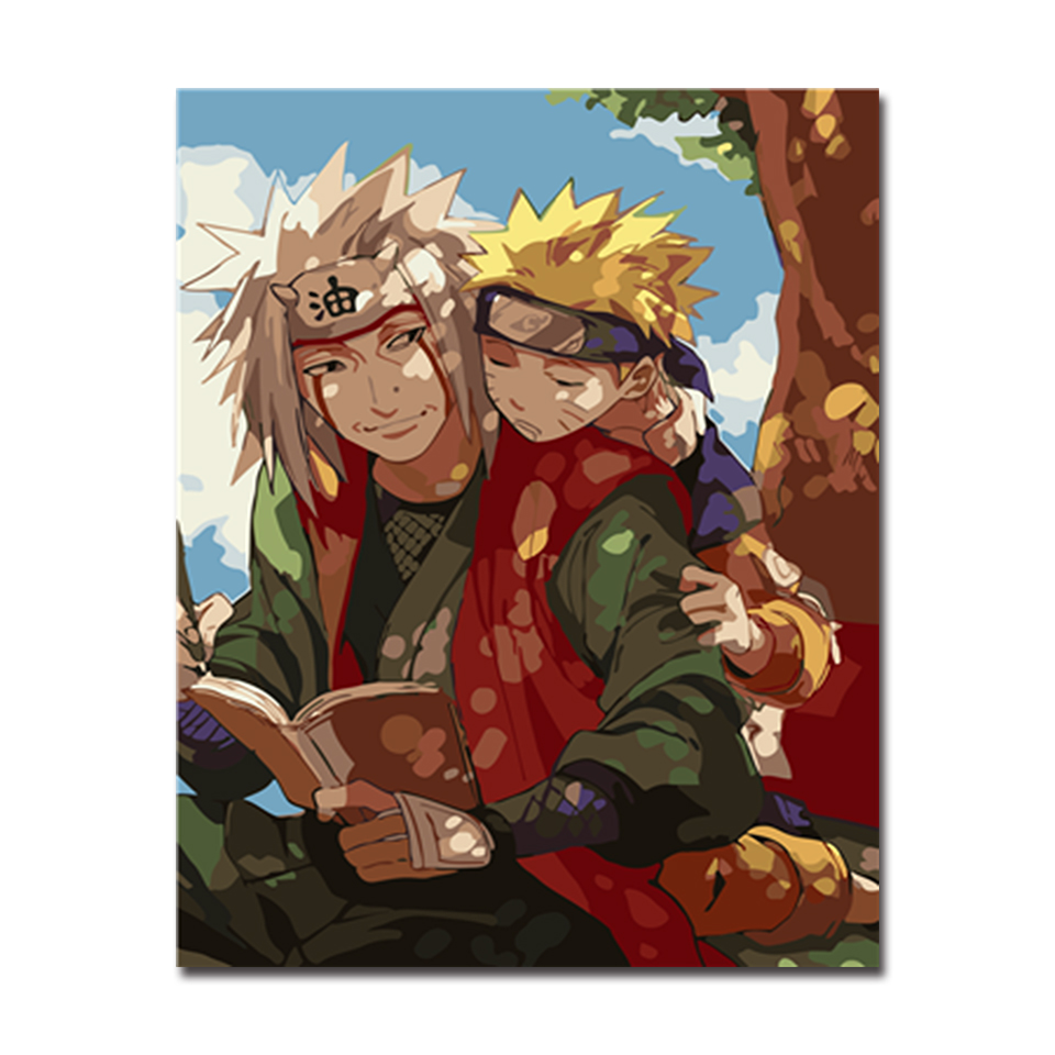 DIY Oil Painting By Numbers Kits Coloring Handpainted Naruto Anime Canvas Pictures Home Decor Kids Room Wall Art Framework
