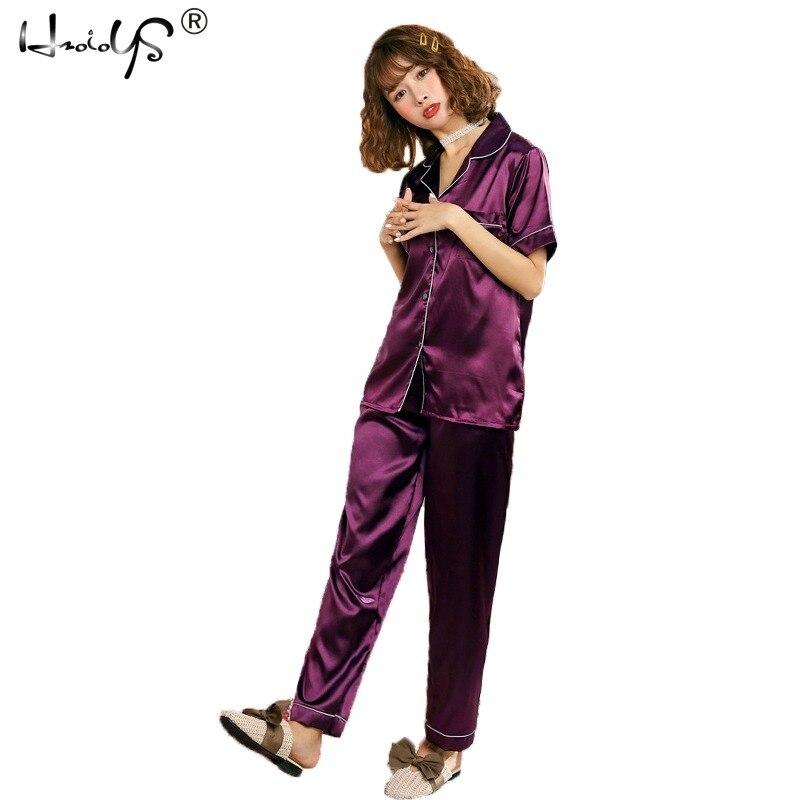 18817c0c8c8 Korte Satijnen Pyjama voor Vrouwen Dames Geborduurde Zijde Pyjama ...