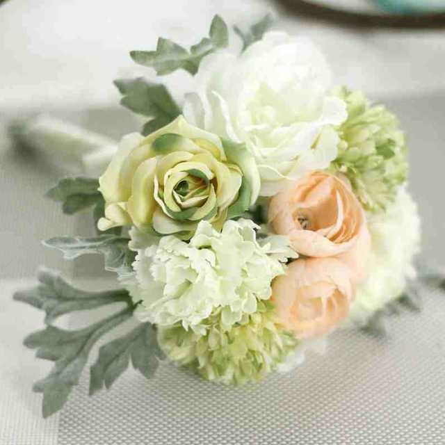 Artificial Flowers Peony Hydrangeas Posy Roses Silk Decorative ...
