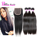 8A Peruvian Virgin Hair Straight With Closure Puruvian Hair Bundles With Closure 3 Bundles Peruvian Straight Hair With Closure