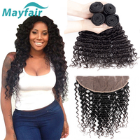 Mayfair Brazilian Deep Wave Bundles With Frontal Natural Color Closure With Bundles Remy Human Hair 3/4 Bundles With Frontal