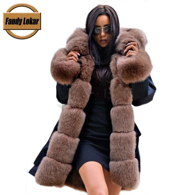 Fandy Lokar Real Fur Parka Women Winter Jacket Nature Fox Fur Hooded Coat Real Rabbit Fur
