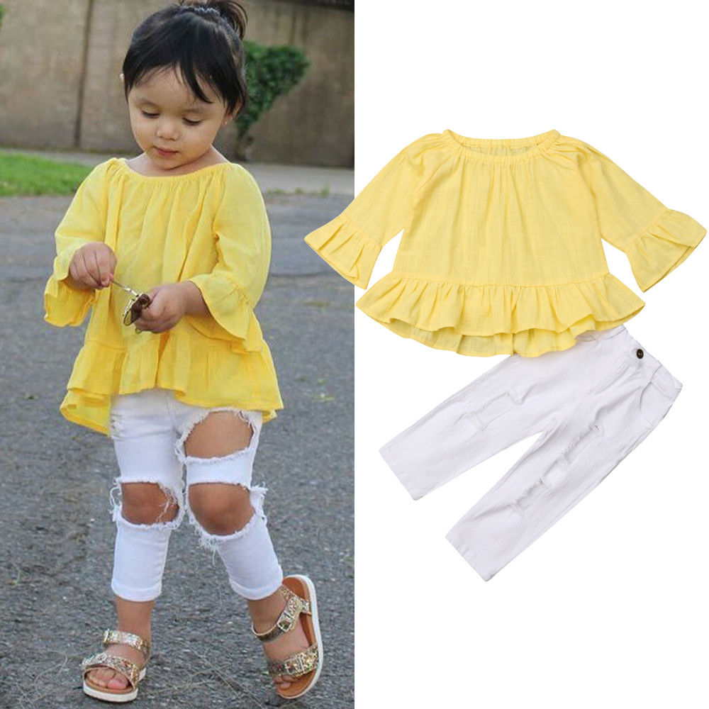 063d315e17ef2f Fashion Toddle Kids Girl Outfits Set New Flare Long Sleeve Solid Tops Hole Pants  Leggings Girls