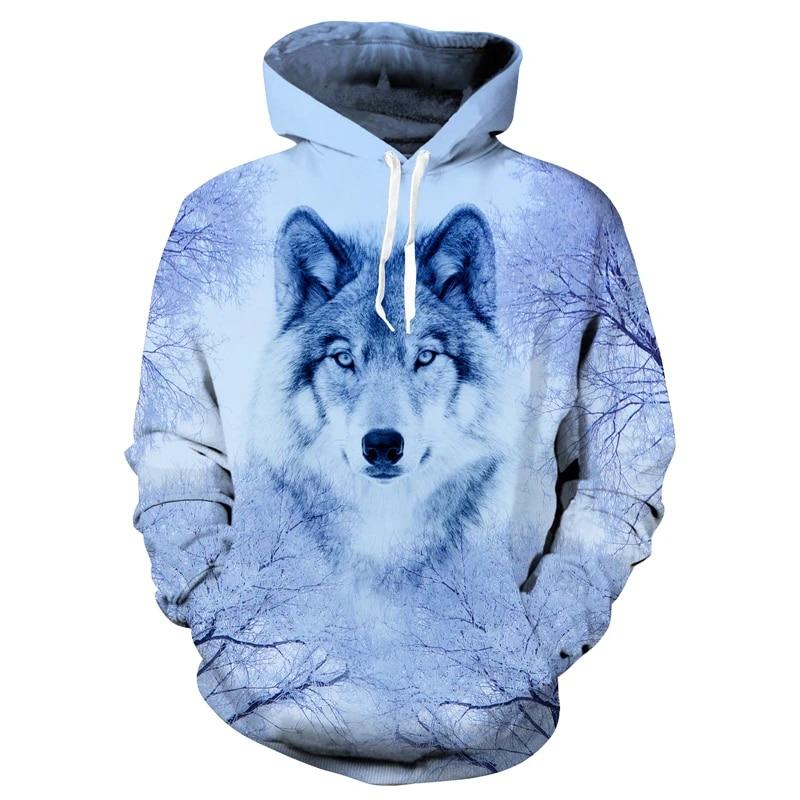 Men Women 3D Wolf Print Zip Up Hoodie Casual Pullover Christmas Sweashirt Jacket