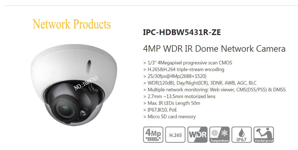 Free Shipping DAHUA CCTV Security IP Camera 4MP WDR IR Dome Network Camera IP67 IK10 With POE Without Logo IPC-HDBW5431R-ZE