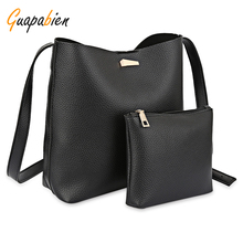 Guapabien Women PU Leather Shoulder Bag Set Ladies Solid Bucket Handbag With Small Bag Female Crossbody