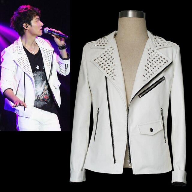Мужчины в певица весна осень белый заклёпка кожа куртка показать приталенный свободного покроя куртка костюмы сцена одежда / M-XXL