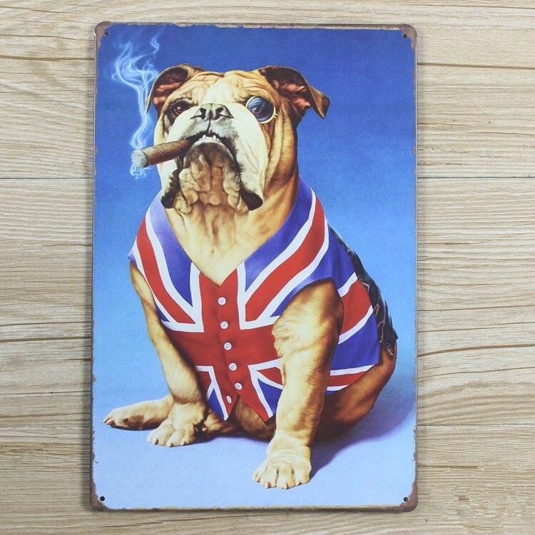 Металлическая банка признаки бар кофе собака с сигаретой Настенный декор Винтаж Металл W ...