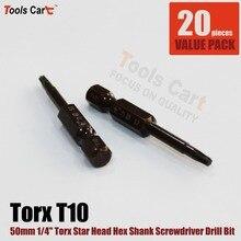 1/4 Hex Shank 50mm Long Torx Star Head Screwdriver Drill Bits Tool 10pcs 14-50-T10