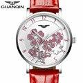 2016 Новый GUANQIN Часы Женщины Красный Кожаный Ремешок Кварцевые Часы С Красивым Цветком Циферблат Моды Водонепроницаемые Часы Для Дам