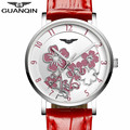 2016 New GUANQIN Watches Women Red Leather Strap Quartz Watch With Beautiful Flower Dial Fashion Waterproof Clock For Ladies