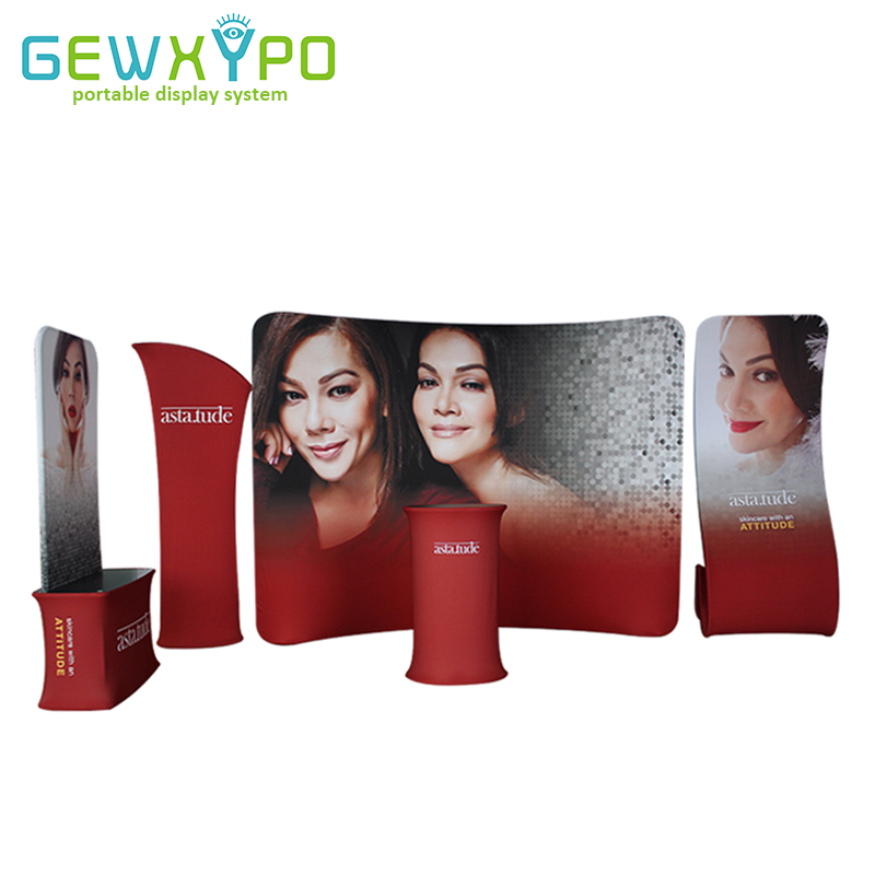 Expo Booth Solution High Quality Tension Fabric Pop Up Banner Stand With Graphic Printing,Portable Advertising Display Wall