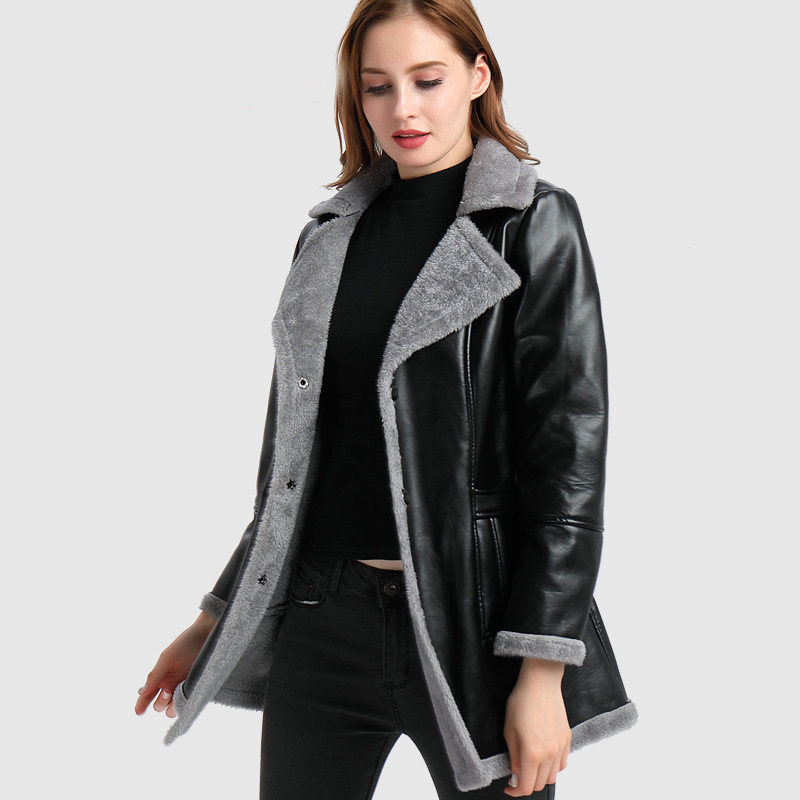 New Autumn Winter Pu   Leather   Jacket Long Coat Black PU Jacket Fur Spliced Winter Female Jacket Fur Lined   Leather   Jackets