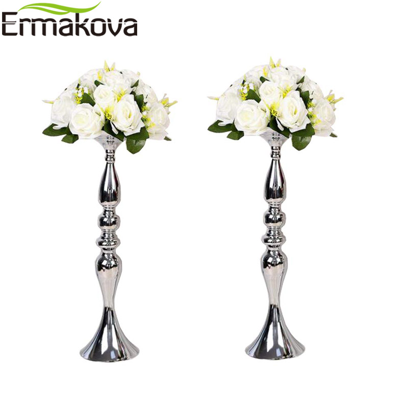 ERMAKOVA Silver Candle Holder Stand Column Candlestick Event Road Lead Flower Vase Rack Wedding Party Dinner Event Centerpiece