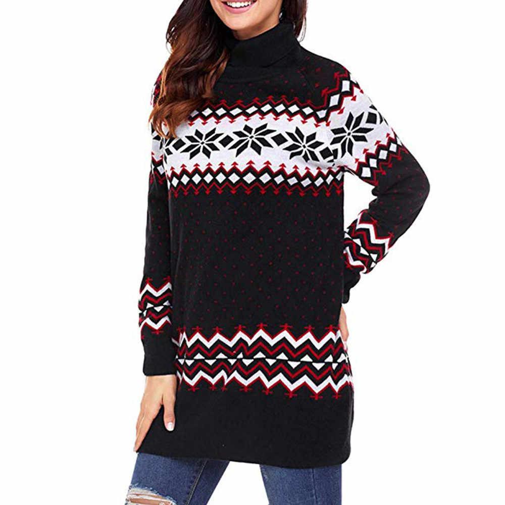 Women Christmas Sweater Dress.Chamsgend Women Christmas Dress Women Sweater Dress Ugly Snowflake Merry Xmas Mini Dress Turtleneck Casual Dress No17