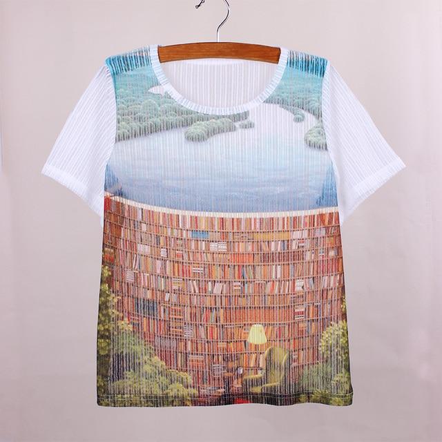 Novelty Bookshelf Print Vogue Women Summer Clothes The Western Fashion Design Girls T Shirts 2016 New