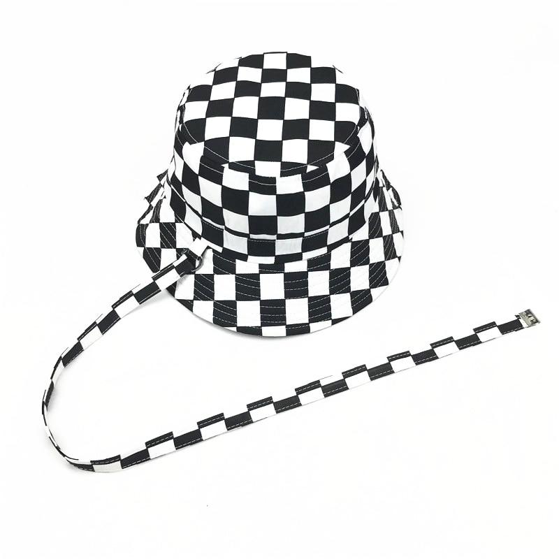 2017 Cotton Black And White Lattice Bucket Hat Fisherman Hat Sun Cap Hats For Men And Women 28