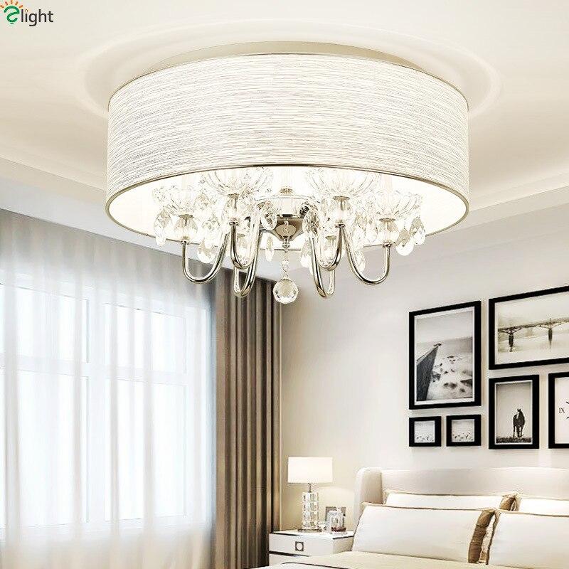 Moderne Lustre En Cristal Led Plafond Lumières Chrome Métal Salle À Manger Led Plafonnier Salon Rond Led Plafond Lampe Appareils