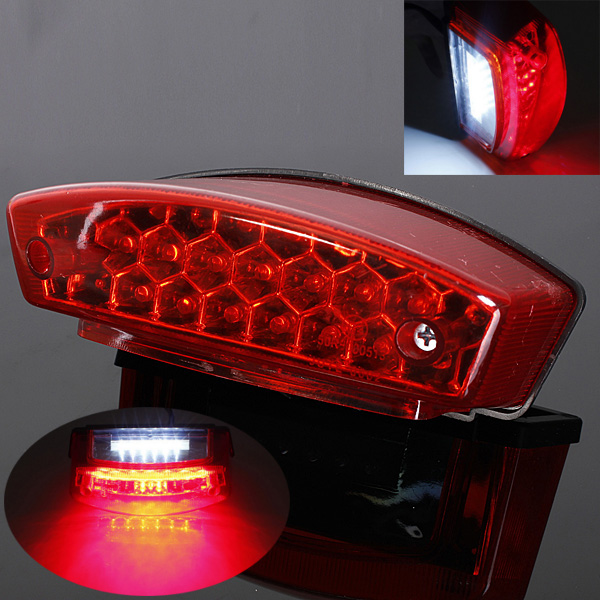12V Red Universal Motocycle Motorbike Led Rear Tail Brake Stop Light Number Plate Lamp for Honda for Harley sitaile universal 12v 30 led car license plate backup reverse brake rear light lamp bar red white waterproof number plate lamp