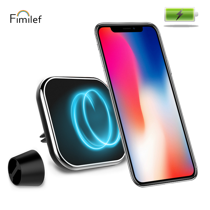 Fimilef Car Magnetic Wireless Charger Square Holder Air Vent&Dashboard&Windshield Mount Car Holder Mobile Phone QI Fast Charging