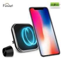 Fimilef voiture chargeur magnétique sans fil support carré évent et tableau de bord et pare brise support pour voiture téléphone Mobile QI charge rapide