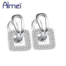 Almei New 2016 Square Rose Gold Plated Crystal Earrings White CZ Diamond-Jewelry Oorbellen Stud Earrings For Women Ladies EH089