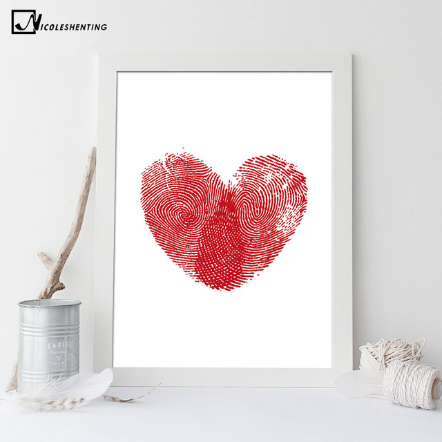 Nordic Art Red Heart Fingerprint Canvas Poster Minimalist Painting Abstract  Wall Picture Print Modern Home Baby