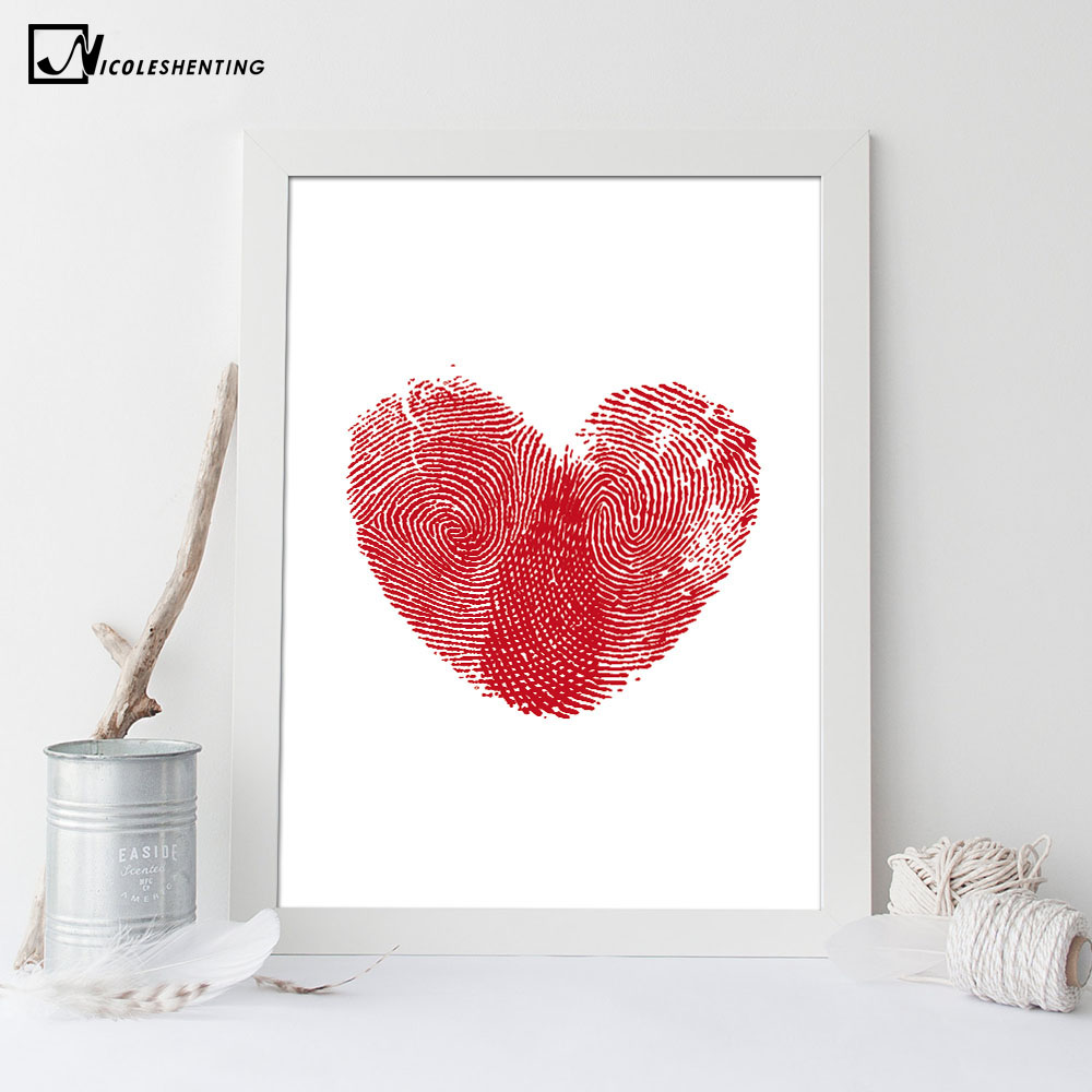 Nordic Art Red Heart Fingerprint Canvas Poster Minimalist Painting Abstract Wall Picture Print Modern Home Baby Room Decoration