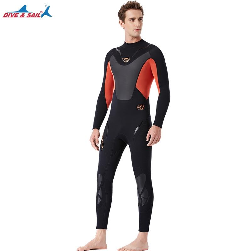 Высокое качество Цельный 3 мм черный Дайвинг костюм для триатлона неопреновый гидрокостюм для мужчин Плавание Серфинг подводное оборудование сплит костюмы - 4