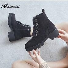 купить MAIERNISI women boots Lace-up vintage High heel boots women martin boots Ladies ankle Flock platform single New shoes Plus Size по цене 2162.36 рублей