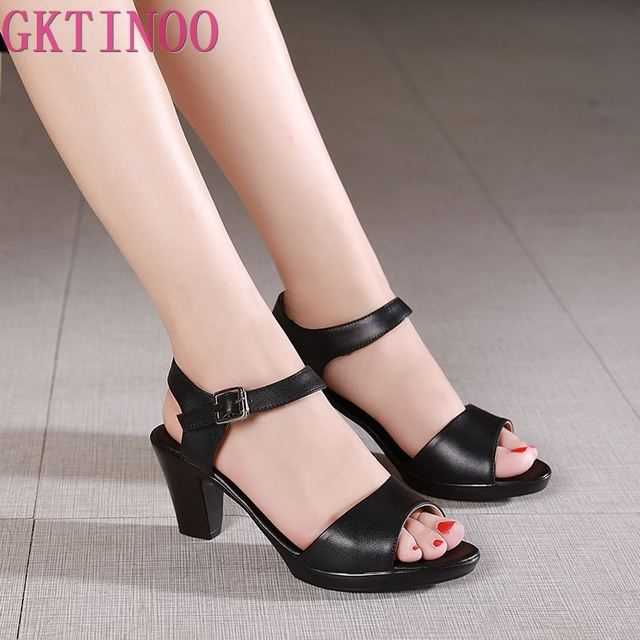 GKTINOO Neue Offene spitze Echtem Leder Sandalen Frauen Schuhe Hohe Ferse Sandalen Elegante Mode Casual Schuhe Frauen Sandalen Plus Größe
