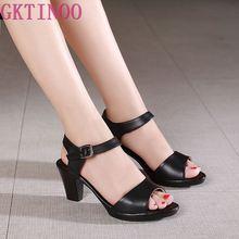 GKTINOO Sandalias de piel auténtica con punta abierta para mujer, zapatos de tacón alto, informales, elegantes, a la moda, de talla grande