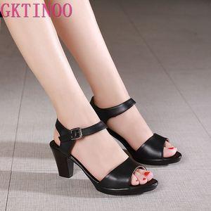 Image 1 - GKTINOO جديد المفتوحة تو صنادل جلد طبيعي النساء أحذية عالية الكعب الصنادل الأنيقة أزياء أحذية غير رسمية النساء الصنادل حجم كبير
