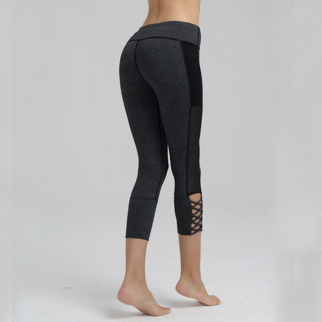 HEAL ORANGE Yoga Capri Pants High Waisted Hollow Cut Out Net Yarn Pants Workout Training Sport Leggins 3/4 Running Tights Women