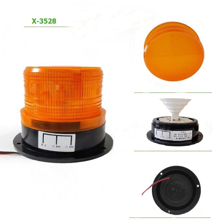 Car Bus Beacon Strobe Emergency Warning Alarm LED Flash Light Amber DC12V/60V ltd 1101l dc12v led rotary warning lamp alarm police fireman car emergency strobe light vehicle beacon tower signal with ce rohs